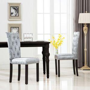 Set 2 Esszimmerstühle im skandinavischen Stil, Wohnzimmerstuhl Essstuhl,Silbern Samt ,SIZE:43 x 51 x 98 cm #DE