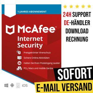 McAfee Internet Security 2021 | 1 Gerät | 1 Jahr | Vollversion | Versand per E-Mail