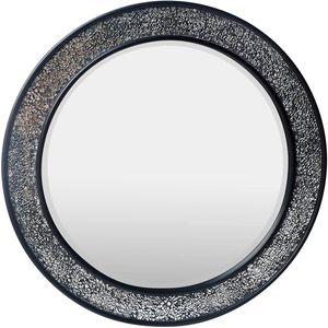 Glamour by Casa Chic Wandspiegel - 60 cm Durchmesser - Schwarz - Mosaik Glitzereffekt - Runde