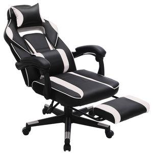 SONGMICS Bürostuhl mit Kopfstütze und Lendenkissen | Schreibtischstuhl  bis 150 kg belastbar höhenverstellbar ergonomisch schwarz-weiß OBG73BW