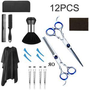 12PCS Haarschere Set friseur schere ausdünnen Haarschnitt Modellierschere mit friseurumhang, Kämme Clips, schwarzer case, verbessertes Haarschnitt-Set