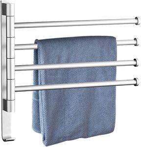 Handtuchhalter Drehbarer 180°, Handtuchstange 4 Arme, Ohne Bohren Badetuchhalter für Hause Büro Shop Restaurant (4,Silber)