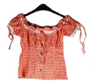 Trachtenbluse in rot - Bluse kariert - Gr. 36