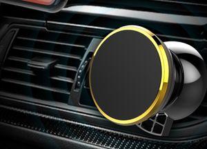 Bayli Handyhalterung Auto Magnet   Lüftungsgitter universal 360° KFZ Handy Halter   Farbe - Gold   Magnethalterung für diverse Handys / Smartphone mit 2x Metallplatte [1x rund und 1x rechteckig]