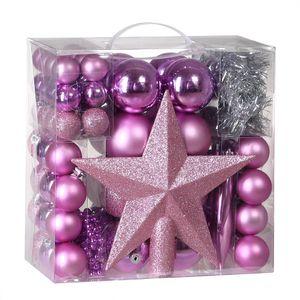Weihnachtskugeln 77er Set Kugeln Girlande Weihnachtsstern Kette Christbaumkugeln Weihnachtsbaumkugeln , Farbe:rosa