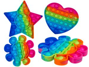 Fidget Pop Toy Rainbow Anti Stress Bubble Pop Trend Push it Stern Herz Blume