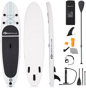GOPLUS SUP Paddelboard 305 x 76 x 15 cm aufblasbares Surfboard Stand Up Paddel Board Set Surfbrett, mit Pumpe, Paddel und Rucksack