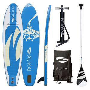 "Aukai® Stand Up Paddle Board 320cm ""Manta"" SUP Surfboard aufblasbar + Paddel Surfbrett Paddling Paddelboard - blau"