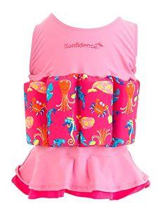 Konfidence Badeanzug Float Suit mit integriertem Auftrieb Mia Schwimmhilfe für optimale Armfreiheit 1 - 2 Jahre