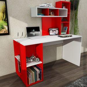 """Schreibtisch Weiß - Rot Coral """""""""""