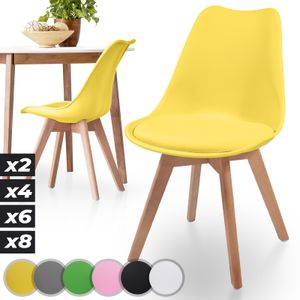 MIADOMODO® Esszimmerstühle 2er 4er 6er 8er Set - Skandinavischer Stil, gepolstert mit Sitzkissen, aus Kunststoff & Massivholz, Farbwahl - Vintage, Retro, Küchenstuhl, Stühle (2er, Gelb)