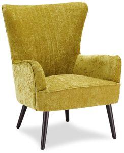 Ibbe Design Gelb Bequem Ohrensessel Retro Lounge Sessel Skandinavisch Lesesessel Samtoptik Stoff mit Armlehnen Arne, Sitzhöhe 43 cm, 75x78x93 cm
