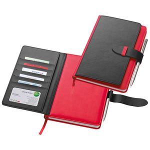 Notizbuch mit Visitenkartenmappe / DIN A5 / aus Polyurethan/ 256 Seiten / Farbe: rot
