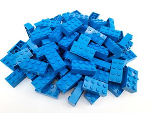 Lego© Steine 100 blaue originale basic Bausteine mit 2*4 Noppen + Steinetrenner *neu und unbespielt*