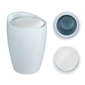 WENKO Wäschesammler & Badhocker Canaro weiß, 120 kg Tragkraft, Kunststoff (ABS)