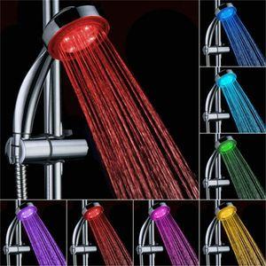 LED Duschkopf Duschbrause Brausekopf Automatic 7 Farbe Licht Rund Regenbrause Duschbrause mit Schlauch