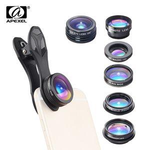 APEXEL APL-DG7 7 in 1 Handy Objektiv Kit 198 ¡ã Fisheye Objektiv 0.36X Weitwinkel Makro Objektiv CPL Kaleidoskop 2X Teleskop Objektiv fuer ios  Huawei Xiaomi Telefon