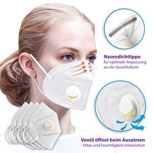 Atemschutz Mundschutz Wiederverwendbar Schutzmaske Maske Filter mit Ventil Weiss, Maske:Maske mit Ventil weiß, Menge:2 Masken