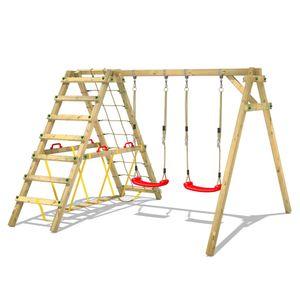 WICKEY Kinderschaukel Schaukelgestell Smart Hike rot, Schaukel mit Kletteranbau und Schwebebalken, Doppelschaukel, Holzschaukel