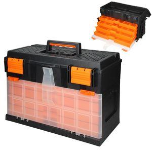 ECD Germany Werkzeugkasten Werkzeugkoffür ca. 44,5 x 26 x 32 cm - 4 Schubladen mit Kleinteilemagazinen - leer - aus Kunststoff - für Heim- und Handwerker - Werkzeugkiste Werkzeugbox Sortimentskoffür