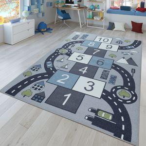 Kinder-Teppich, Spiel-Teppich Für Kinderzimmer, Hüpfkästchen und Straßen, Grau, Größe:80x150 cm