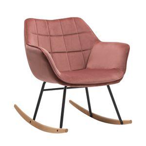 Duhome Schaukelstuhl Schwingsessel Stoff Samt rosa gesteppt Sessel Gestell Metall Holz