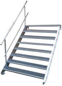 Stahltreppe 8 Stufen-Breite 100cm Variable-Höhe 120-160cm mit einseit. Geländer