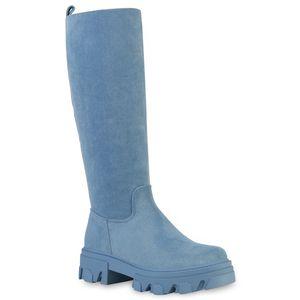 Giralin Damen Stiefel Plateaustiefel Blockabsatz Profil-Sohle Schuhe 837680, Farbe: Hellblau Velours, Größe: 39
