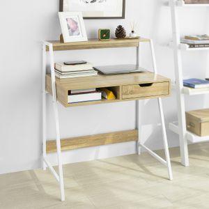 SoBuy FWT63-N Schreibtisch mit Ablage und Fach Computertisch Arbeitstisch Bürotisch Tisch mit Schublade Natur BHT ca.: 81x100x50cm