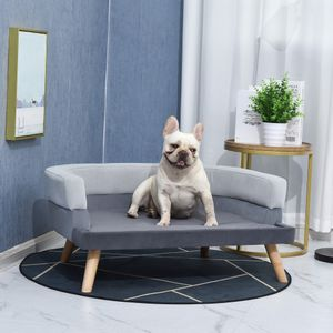PawHut Hundesofa mit Rückenlehne, Haustiersofa mit Holzbeinen, Hundebett Weichem Bezug Katzensofa Grau 86,5x 61x36 cm