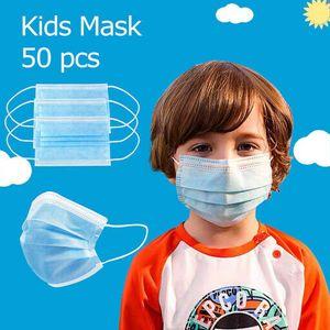 50x Einwegmasken für Kinder Blau Kinder Gesichtsmaske Einweg-3-lagige Mundmaske