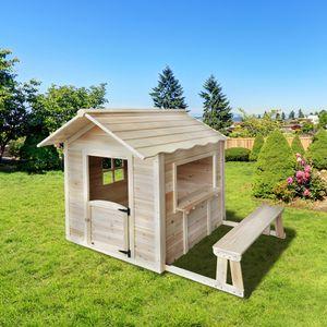 HOME DELUXE - Spielhaus Der große Palast / Natur mit Bank KinderSpielhaus  Gartenhaus Holzhaus