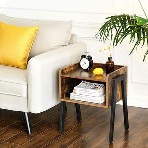 VASAGLE Nachttisch Metallbeinen 42 x 52 x 35 cm   Holzoptik stapelbarer Sofatisch rustikale Beistelltisch Vintage LET54X