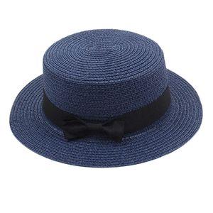 Elegante Flache Schleife Fedora Hut Sonnenhut Strohkappe  Hut Frauen Farbe Marine