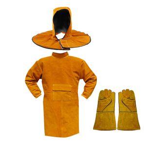 Lange Schweißerjacke Schürze + Schweißerhandschuhe + Schal Hut Schutzkleidung Bekleidung für Schweißer