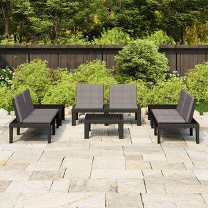 Balkonmöbel Set für 6 Personen, 6-TLG. Garten-Lounge-Set/Sitzgruppe/Gartengarnitur mit Auflagen Kunststoff Grau☆7852