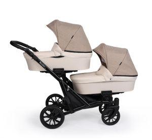 Booster Light Kinderwagen Zwillingswagen Geschwisterwagen by Lux4kids Cream 02 2in1 ohne Babyschale