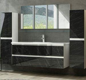 Badmöbel Set Weiss / Schwarz Marmor Optik Hochglanz Badezimmermöbel 6 teilig Bad 90 cm    Spiegel Unterschrank Waschtisch Spiegel  Ablage 2x hochschränke