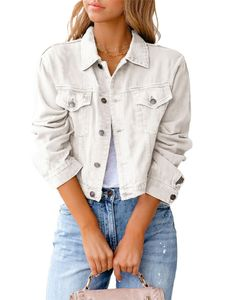 Damen kurze Jeansjacke kurzes schmales Oberteil,Farbe: Weiß,Größe:L