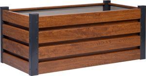 dobar Rechteckiges Hochbeet für den Garten, Pflanzkasten mit Holzmuster, 100 x 50 x 40 cm, Metall, Braun