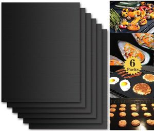 BBQ Grillmatte (6er Set) 40x33 cm Zum Grillen und Backen BBQ Antihaft Grill Backmatte Extra große Grillfolie Grillmatten für Holzkohle, Gasgrill & Backofen Wiederverwendbar PFOA-Frei MEHRWEG