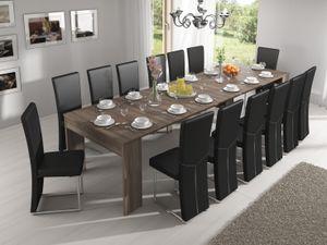 Ausziehbarer Esstisch, ausziehbar bis 301 cm, Eiche dunkel, Maße (unausgezogen): 90 x 49 x 75 cm Höhe