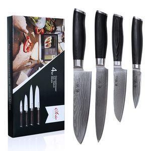 4er Damastmesser-Set - Klingen von 8,50 cm bis 18,00 cm Länge aus echtem japanischen Damaststahl mit Mircata-Griffen Serie Wakoli Mikata