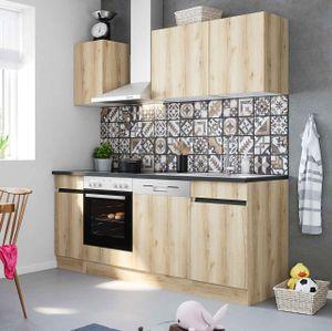 Küchenblock Kaya 210 cm mit Einbauspüle ohne Elektrogeräte in Wildeiche Nachbildung (Geschirrspüler geeignet)
