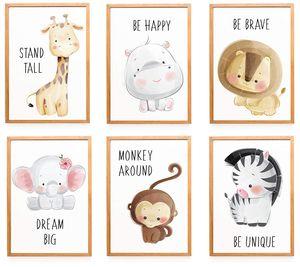 WIETRE® 6er Set Bilder Tiere Kinderzimmer Babyzimmer Deko | Bild Junge Mädchen Poster DIN A4 | Waldtiere Safari Afrika Tiere Tierposter Dekoration - ohne Rahmen