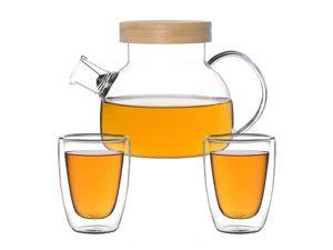 Kira Teeset / Teeservice / Teekanne Glas 900ml mit Tüllensieb, Bambusdeckel und 2 doppelwandige Teegläser je 200ml