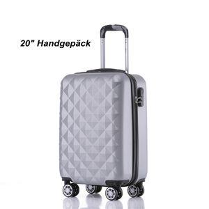 Reise Koffer Hartschalenkoffer Trolley Reisekoffer M Silber 4 Rollen Roll-Koffer Handgepäck
