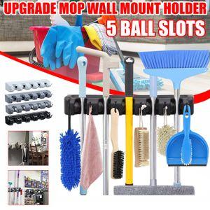 Besenhalter Mop Halter Universal Gerätehalter Wandhalterung Garage für Besen, Mopp und Gartenwerkzeuge Grau