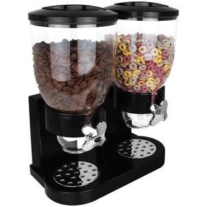 Cornflakes Spender schwarz doppelt Müslispender Cerealienspender Doppelspender für Müsli Cerealien Süßigkeiten