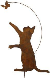 Gartenstecker Katze mit Schmetterling höhe ca. 55cm Metall Rost Gartendeko Edelrost rostiger Beetstecker